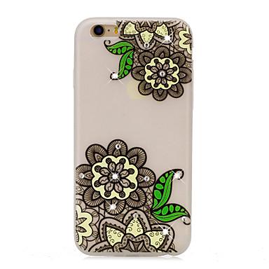 Pouzdro Uyumluluk Apple Taşlı Karanlıkta Parlayan Temalı Arka Kılıf dantel Baskı Çiçek Yumuşak TPU için iPhone 7 Plus iPhone 7 iPhone 6s