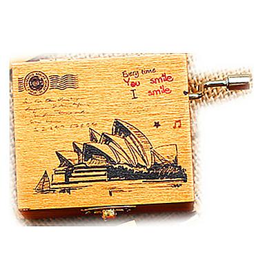 Müzik Kutusu Oyuncaklar Dörtgen Sidney Opera Binası Tahta Vintage Retro Parçalar Çocuklar için Genç Kız Hediye