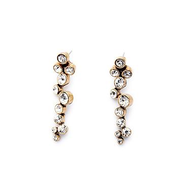 Halka Küpeler Kristal Kişiselleştirilmiş Euramerican Round Shape Beyaz Mücevher Için 1 çift