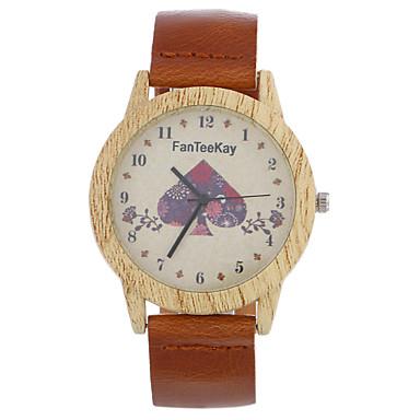 Bărbați Ceas Lemn Unic Creative ceas Ceas de Mână Ceas Casual Chineză Quartz / de lemn Piele Bandă Casual Cool Negru Maro Khaki