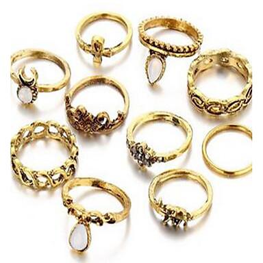 Γυναικεία Σετ Κοσμημάτων Δαχτυλίδι Βασικό Πετράδι Circle Shape Δακτυλίδια Για Καθημερινά Causal Δώρα Γάμου