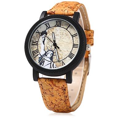 Dames Horloge Hout Dress horloge Modieus horloge Chinees Kwarts Hout Band Vintage Creatief Cartoon Beige