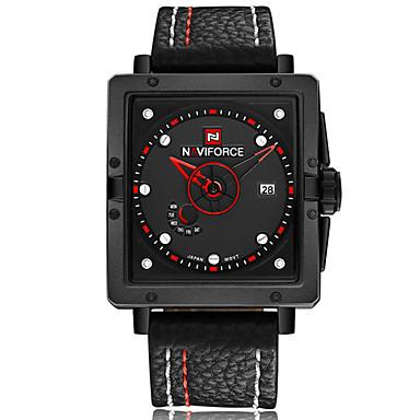 NAVIFORCE Herrn Sportuhr Modeuhr Armbanduhr Armbanduhren für den Alltag Quartz Kalender PU Band Luxus Freizeit Cool Schwarz Braun