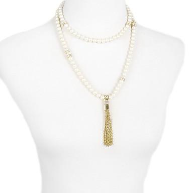 Kadın's Uçlu Kolyeler Geometric Shape Eşsiz Tasarım Püsküller sevimli Stil Beyaz Gri Mücevher Için Günlük 1pc