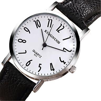 KINGNUOS Dames Modieus horloge Chinees Kwarts Leer Band Cool Vrijetijdsschoenen Zwart