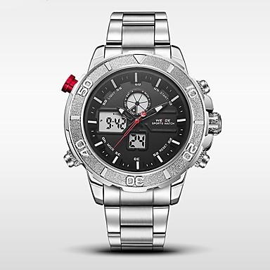 WEIDE Erkek Asker Saat Spor Saat Japonca Dijital Japon Kuvartz Alarm Takvim Su Resisdansı LED Kronometre Çift Zaman Bölmeli LCD Paslanmaz