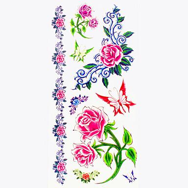 Tattoo Aufkleber Blumen Serie Muster Unterer Rückenbereich WaterproofDamen Herren Teen Flash-Tattoo Temporary Tattoos