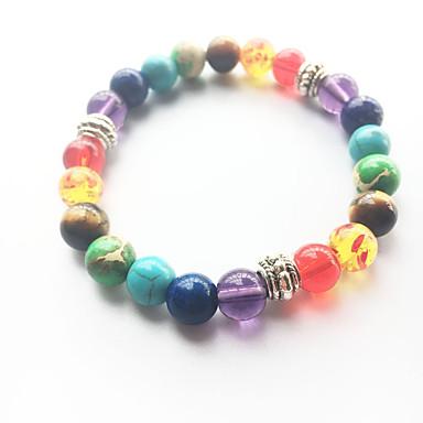 billige Armbånd-Turkis Perler Perlearmbånd yoga Bracelet Turkis Natur Mote Armbånd Smykker Regnbue Til Bryllup Fest Sport