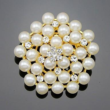 Pentru femei Fete Broșe Floral Stil Floral Flori Perle Cristal Aliaj Floare Auriu Alb Bijuterii Pentru Nuntă Petrecere Ocazie specială