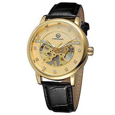 pentru Doamne ceas mecanic Quartz Japonez Gravură scobită Piele Bandă Casual Elegant Negru