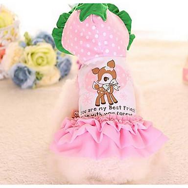 Câine Rochii Îmbrăcăminte Câini Prințesă Rosu Roz Bumbac Costume Pentru animale de companie Vară Pentru femei Draguț Modă