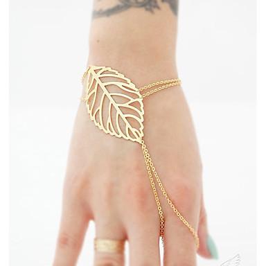 Damskie Bransoletki i łańcuszki na rękę Bransoletka z pierścionkiem - Artystyczny Ręcznie Wykonane Circle Shape Gold Bransoletki Na
