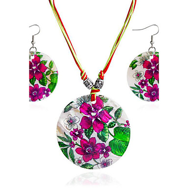 Γυναικεία Κοσμήματα Σετ 1 Κολιέ / 1 Ζευγάρι σκουλαρίκια - μινιμαλιστικό στυλ Κυκλικό Ροδοκόκκινο Νυφικό κόσμημα σετ Για Δώρο / Καθημερινά
