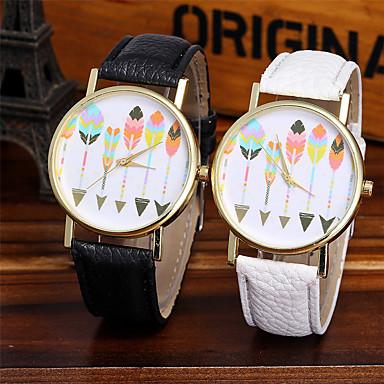 Dames Kwarts Unieke creatieve horloge Polshorloge Chinees Kleurrijk / Leer Band Glitter Informeel Modieus Cool Zwart Wit Bruin Groen Grijs
