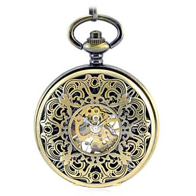 للرجال ساعة الهيكل ساعة جيب ووتش الميكانيكية كوارتز داخل الساعة ميكانيكي يدوي أشابة فرقة برونز