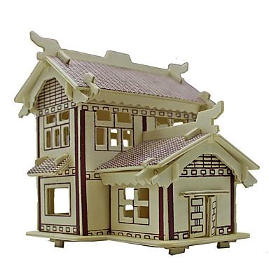 puzzle-uri Puzzle 3D Blocuri de pereti DIY Jucarii Arhitectură Lemn Jucărie de Construit & Model