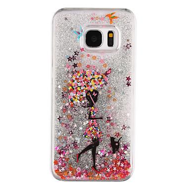 Hülle Für Samsung Galaxy S8 Plus S8 Mit Flüssigkeit befüllt Transparent Muster Rückseite Durchsichtig Sexy Lady Glänzender Schein Hart PC
