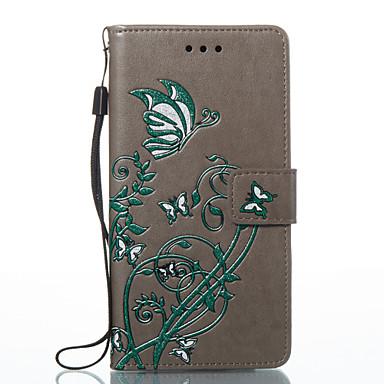 hoesje Voor Huawei P9 Lite Huawei Huawei P8 Lite Kaarthouder Portemonnee met standaard Flip Patroon Reliëfopdruk Volledig hoesje Vlinder