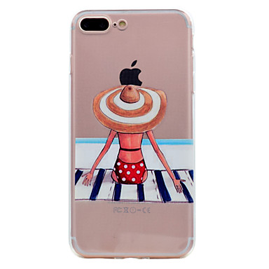 hoesje Voor Apple iPhone 7 Plus iPhone 7 Ultradun Transparant Patroon Achterkant Sexy dame Zacht TPU voor iPhone 7 Plus iPhone 7 iPhone
