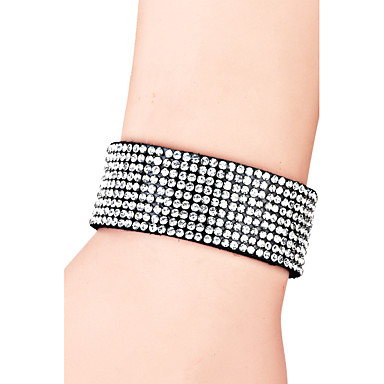 Damen Lederarmbänder Kristall Böhmische Freundschaft Modisch Handgemacht T¨¹rkisch Krystall Leder Kreisförmig Geometrische Form Schmuck