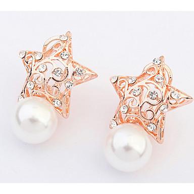 Damen Ohrstecker Tropfen-Ohrringe Kreolen Imitierte Perlen Strass Basis Einzigartiges Design Logo Stil Strass Perle Geometrisch