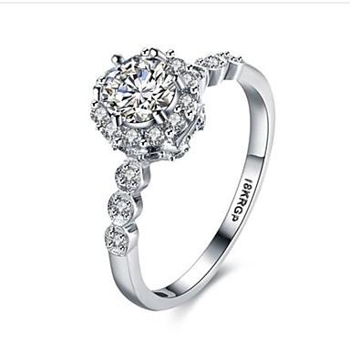 خاتم مكعب زركونيا تقليد الماس موضة مكعبات زركونيا مطلية بالذهب Round Shape مجوهرات إلى عيد ميلاد يوميا فضفاض 1PC