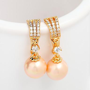 billige kolleksjon med mangefargede perler-Dame damer Unikt design Mote Euro-Amerikansk Perle Imitert Perle Rosa perle øredobber Smykker Gull / Sølv Til Bryllup Bursdag Fest & Aften Graduation Seremoni