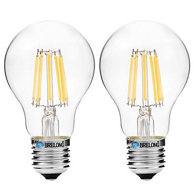 BRELONG® 2pcs 8W 600 lm E27 Bec Filet LED A60(A19) 8 led-uri COB Alb Cald Alb AC 200-240 V
