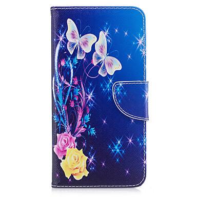 Maska Pentru Apple iPhone 7 Plus iPhone 7 Titluar Card Portofel Cu Stand Întoarce Model Carcasă Telefon Fluture Floare Greu PU piele