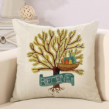 1 Stück Baumwolle/Leinen Kissenbezug, Bäume/Blätter Modisch Neuheit Retro Freizeit Europäisch Neoklassisch Traditionell-Klassisch