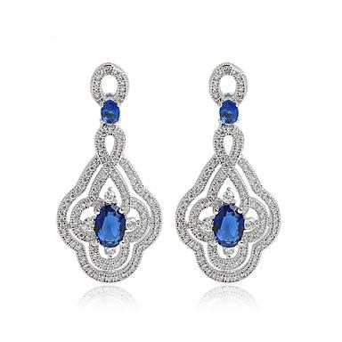 Pentru femei Cercei - Zirconiu Design Unic, Modă, Euramerican Rosu / Albastru Pentru Nuntă / Zi de Naștere / Petrecere / Seară