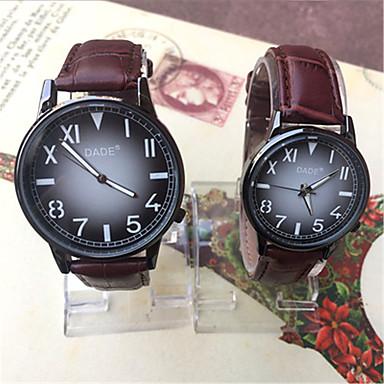 Heren Modieus horloge Kwarts Leer Band Zwart Roze