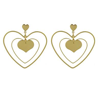 للمرأة أقراط قطرة لؤلؤ تقليدي هندسي أساسي اسلوب لطيف سبيكة Geometric Shape قلب مجوهرات ذهبي فضي يوميا فضفاض مجوهرات