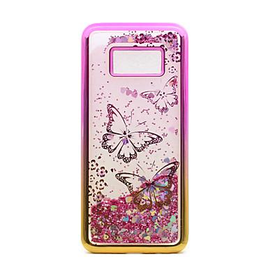 Hülle Für Samsung Galaxy S8 Plus S8 Beschichtung Mit Flüssigkeit befüllt Transparent Muster Rückseite Schmetterling Glänzender Schein