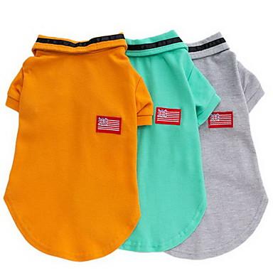 Hund T-shirt Hundekleidung Solide Orange Grau Grün Baumwolle Kostüm Für Haustiere Herrn Lässig/Alltäglich