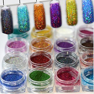 17pcs/set Pulbere cu sclipici Pudră Elegant & Luxos Glitter de unghii Strălucitor & Sclipitor Nail Art Design