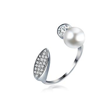 Dames manchet Ring Imitatie Parel Zirkonia Uniek ontwerp Vintage Tekojalokivi Imitatieparel Verstelbaar Euramerican Met de Hand Gemaakt