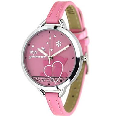 Dames Modieus horloge Kwarts Leer Band Blauw Roze