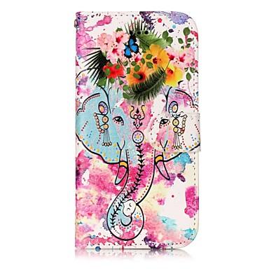 Pentru Apple iPhone 7 7 plus 6s 6 plus se 5s 5 caz acoperă elefanți și flori model strălucire relief pu materiale stent carte portofel