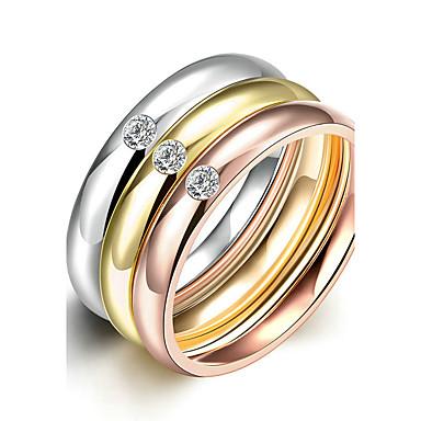 Pentru femei Inel de logodna Inel Band Ring Auriu Oțel titan Rotund de Mireasă Modă stil minimalist Cadouri de Crăciun Nuntă Petrecere