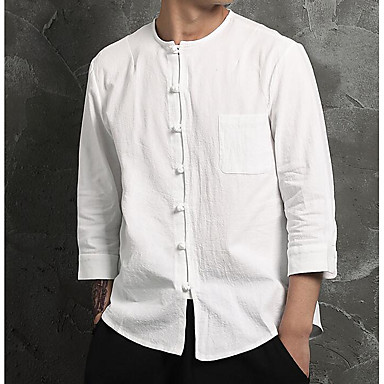 baratos Roupa de Homem Moderna-Homens Camisa Social Casual / Temática Asiática Sólido Algodão / Linho Decote Redondo Branco XL / Manga Longa / Primavera / Outono