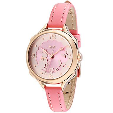 Dames Modieus horloge Japans Kwarts Waterbestendig Leer Band Wit Roze