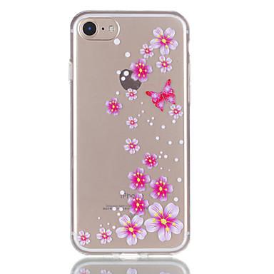 Maska Pentru Apple iPhone 7 Plus iPhone 7 Transparent Model Capac Spate Fluture Floare Moale TPU pentru iPhone 7 Plus iPhone 7 iPhone 6s