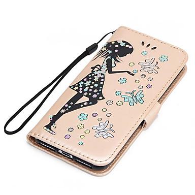 غطاء من أجل Apple iPhone 7 Plus iPhone 7 حامل البطاقات محفظة مع حامل قلب مطرز غطاء كامل للجسم فراشة امرآة مثيرة بريق لماع قاسي جلد PU إلى