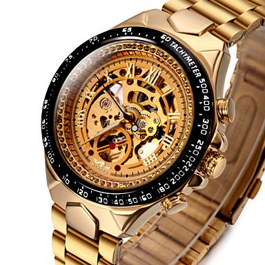 olcso Rozsdamentes acél-WINNER Férfi Szkeleton óra Karóra mechanikus Watch Automatikus önfelhúzós Rozsdamentes acél Arany 30 m Vízálló Üreges gravírozás Fénylő Analóg Luxus Vintage díszes - Fehér Fekete Arany / Ezüst
