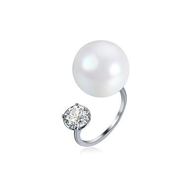 Pentru femei Zirconiu Cubic, Imitație de Perle manşetă Ring - Imitație de Perle, Zirconiu, Articole de ceramică Alb