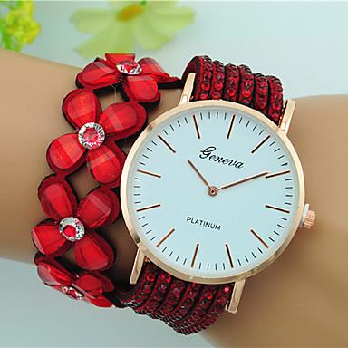Damen Armband-Uhr Quartz Großes Ziffernblatt Leder Band Blume Böhmische Schwarz Weiß Blau Rot Braun