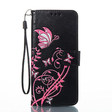 Недорогие Чехлы и кейсы для Galaxy S3-Кейс для Назначение SSamsung Galaxy S8 Plus / S8 / S7 edge Кошелек / Бумажник для карт / со стендом Чехол Бабочка Твердый Кожа PU