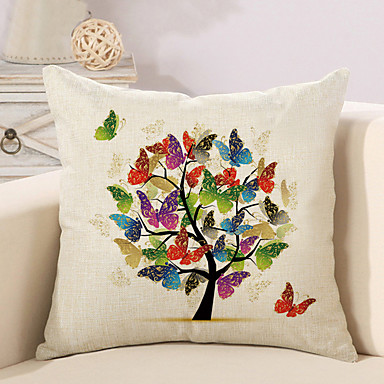 1 pcs beautiful butterfly tree of life pillow cover square sofa cushion cover cotton linen. Black Bedroom Furniture Sets. Home Design Ideas
