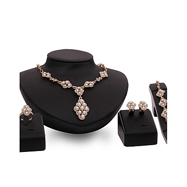 Pentru femei Seturi de bijuterii Ștras Imitație de Perle Imitație de Perle Ștras Placat Auriu Aliaj Altele Floare Personalizat Lux